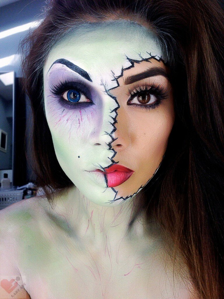 half face halloween check makeup - Fun Makeup Ideas For Halloween